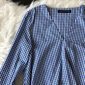 Zara Gingham Bell Sleeve Blouse